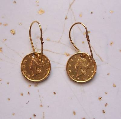 1851 $1 DOLLAR LIBERTY HEAD TWO GOLD COINS OPEN WREATH HOLED w/WIRES 4 EARRINGS