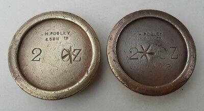 Vintage Brass Weights - 2 oz (x 2) H Pooley & Son Cancelled