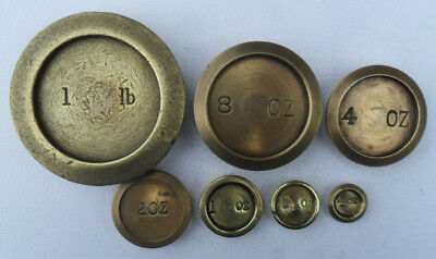 Part Mixed Set Antique / Vintage Brass Weights - 1/4 oz - 1 lb (9)