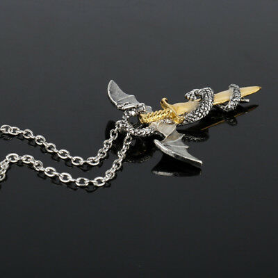 Glow in the Dark Dragon Sword Necklace Luminous Pendant Punk Charm Jewelry Jian
