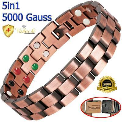 Pure Solid Copper Magnetic Therapy Chain Bracelet Men Arthritis Pc01Bv