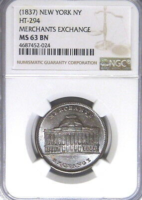 New York City Joint Stock Exchange Wall Street Hard Times Token NGC MS63 HT-294