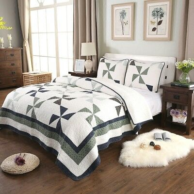100% Cotton Coverlet / Bedspread Set Quilt King & Super King Size Bed 245x285cm