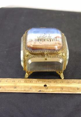Antique Jewelry Trinket Box Case Brass Glass St Marks Cathederal Venice Italy