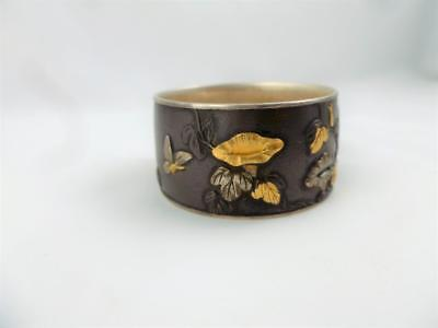 Quality Antique Japanese Shakudo Flowers Butterflies Napkin Ring c1910