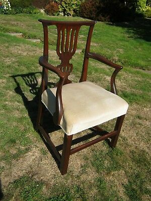 Superb Georgian Mahogany Open Armchair with Splat Back