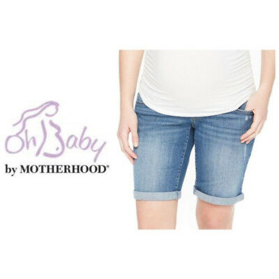 Maternity Oh Baby by Motherhood Jean Shorts Distressed Bermuda Blue Sz S NWT