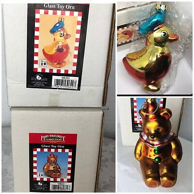 """Duck Bear 2 Glass Toy Ornaments Mary Engelbreit Christmas Collection 6.5"""" MEINK"""
