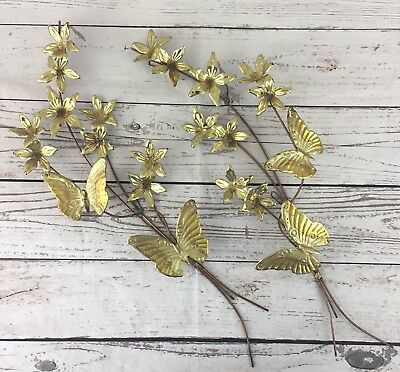 Homco Brass Gold Tone Butterfly Flowers Metal Wall Hanging Set of 2 Vintage