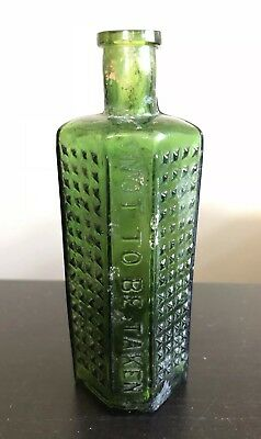 """Antique 19th C Emerald Green Poison Glass Bottle """"NOT TO BE TAKEN"""" Hobnail 5.5""""T"""