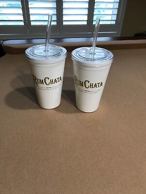 Set of 2 Rum Chata Liquor Plastc Insulated Cups Tumblers