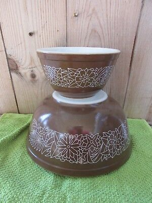Vintage Pyrex Woodland Brown Flowers Mixing Nesting Bowls Set of 2 # 401 403
