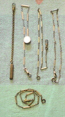 Lot of 5 Antique/Vintage Pocket Watch Chains Gold Filled/Plated