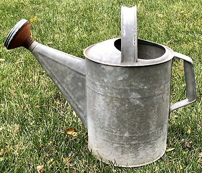 Antique Vintage Large Galvanized Tin Garden Flower Plant Sprinkling Watering Can