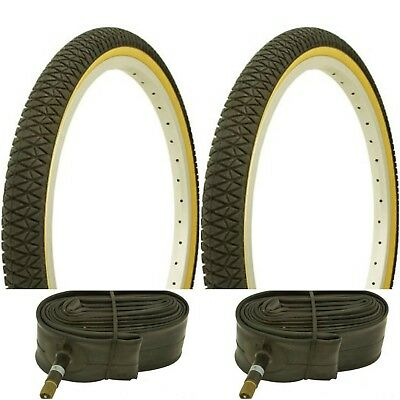 """New PAIR of 20/"""" BMX Bicycle Gumwall Snake Belly Skin Wall Tires /& Tubes 20X1.75"""