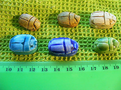 .Lot of 6 Egyptian Scarabs hand-made of Egypt faience & steatite.Hieroglyphics.