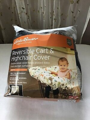 Eddie Bauer Reversible Comfy Cart Cover & High Chair Cover,Animal Theme/Grey NEW