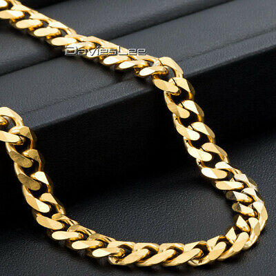 7mm Gold Tone Necklace for Mens Boys Curb Cuban Link Stainless Steel Chain