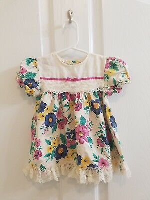 Vintage Baby Girl Pink Blue Yellow Floral Ruffle Lace Bow Dress Size 12 Months