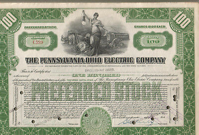 stock certificate 100 Pennsylvania Ohio Electric Company cancelled not issued