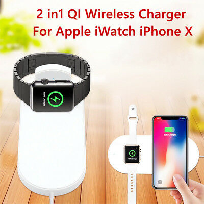 2 in1 QI Wireless Charger Charging Pad Charge Station For Apple iWatch iPhone X