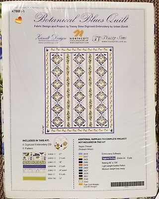 Northcott Botanical Blues Quilt by Tracey Sims Embroidery by Urban Zundt KTBB1-1