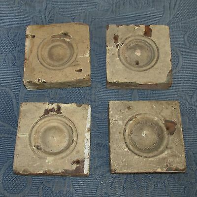 4 Antique Victorian Bulls-Eye Corner Molding Plinth Blocks, Old Chippy Paint