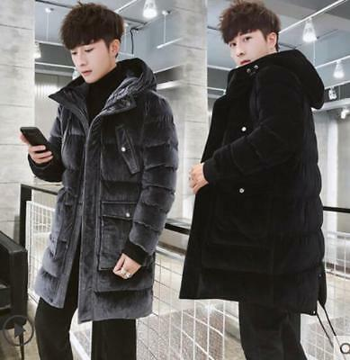 Mens Jacket Warm Thick Fashion Overcoat Coat New Velvet Hooded Duck Down Parka
