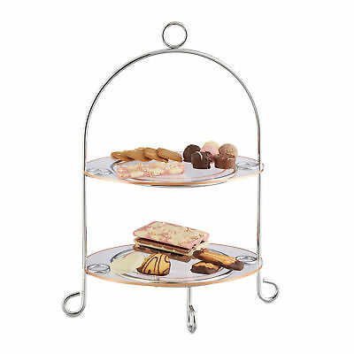Kitchen Platter Etagere Serving Stand for Muffins, Fruit, Snacks, Silver, Oval