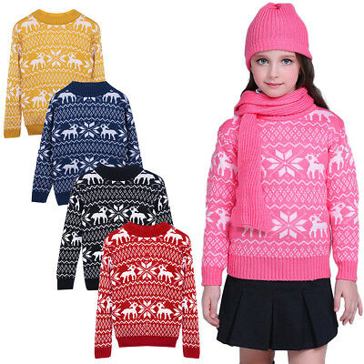 Boy Girl Christmas Costume Sweater Long Sleeve Knitted Deer Pullover Jumper Top