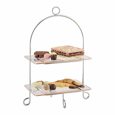 2-Tier Etagere, Kitchen Platter, Serving Dish for Snacks Cookies Muffins, Silver