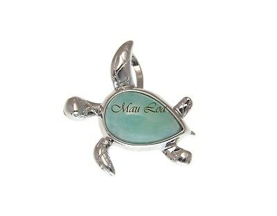 925 Sterling Silver Natural Blue Larimar Hawaiian Double Dolphin Pendant Charm