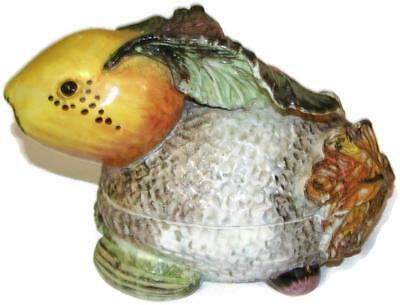 Italian Art Pottery Majolica Figural Rabbit Tureen Made with Vegetable Shapes