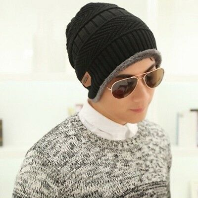 Men's Fashion Plus Velvet Thickening Hat Knitted Ear Cap Covering Beanie Hats