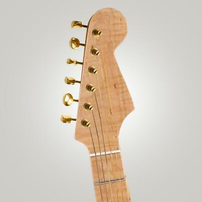 Elegant Natural Wood Curly Maple Electric Guitar Neck 21 Fret Abalone Shell Dots