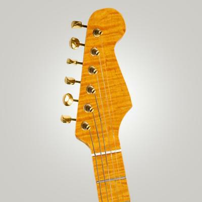 DIY 21 Frets Curly Maple Guitar Neck, Elegant Appearance, Brighter Tone, Yellow
