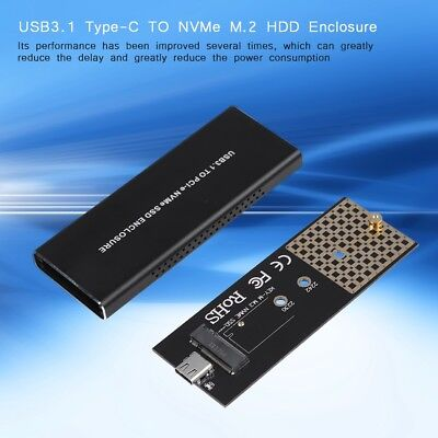 USB 3.1 Type C to NVMe M.2/NGFF PCI-E(M-KEY) SSD Enclosure Case Hard Drive Box