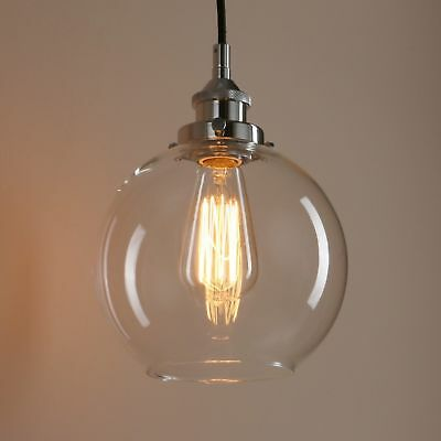 Permo Vintage Industrial Clear Glass LampShade Loft Brass Ceiling Pendant Light