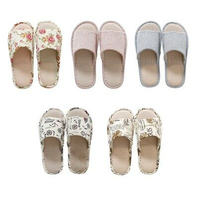 Women Men Anti-slip Linen Floral Home Indoor Summer Open Toe Flat Shoes Slippers