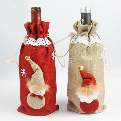 Christmas Snowman Red Wine Bottle Cover Bags Pouch Xmas Dinner Party Decor Hot