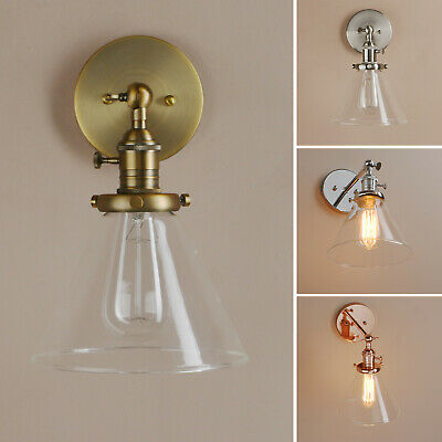 Pathson Retro Funnel Cone Glass Lamp Shade Industrial Bedroom Wall Light Sconce