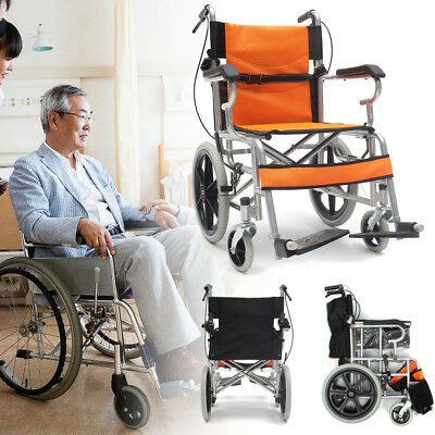 Lightweight Steel Folding Travel Propelled Wheelchair Footrest Portable w/ Brake