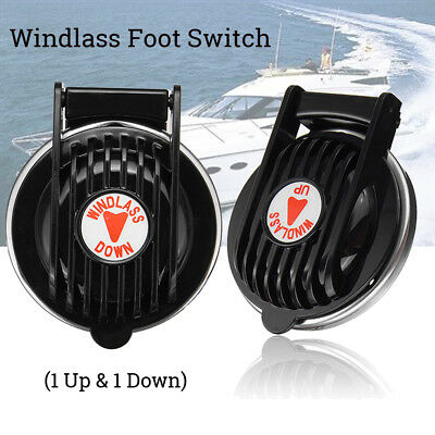 2x Black Marine Windlass Foot Switch Up & Down For Boat Anchor Winch 90900B