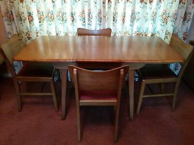 Vintage Retro Mid Century Extendable Dining Table and 4 Original Chairs