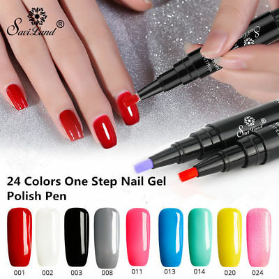 Saviland 3 In 1 One Step Gel Varnish Pen Nail Gel Polish 24 Colors LED UV Pencil