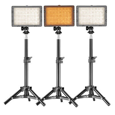 Neewer 3x Photography 160 Dimmable LED Studio Light with Stand Lighting Kit
