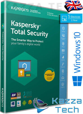 Kaspersky Total Security 2019 5 User PC Multi-Device 1 Year UK RETAIL SEALED NEW