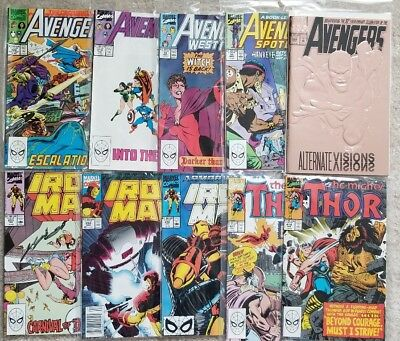90's VINTAGE MARVEL COMICS LOT (10) - THE AVENGERS, IRONMAN, THE MIGHTY THOR!