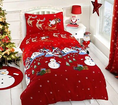 Father Christmas Tree Santa Claus Reindeer Stag Quilt Duvet Cover Bedding Set