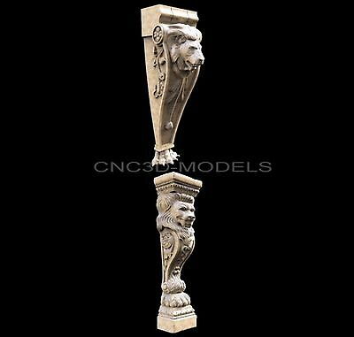 3D Model STL for CNC Router Carving Artcam Aspire Furniture Decor Lion 1429